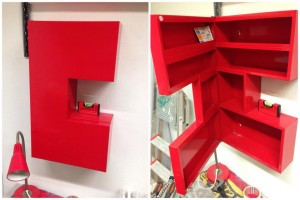 Recycled IKEA C Shaped metal cupboard.