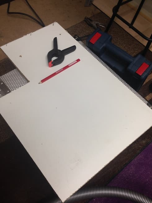 29. Measure and cut a plywood panel to cover the lid