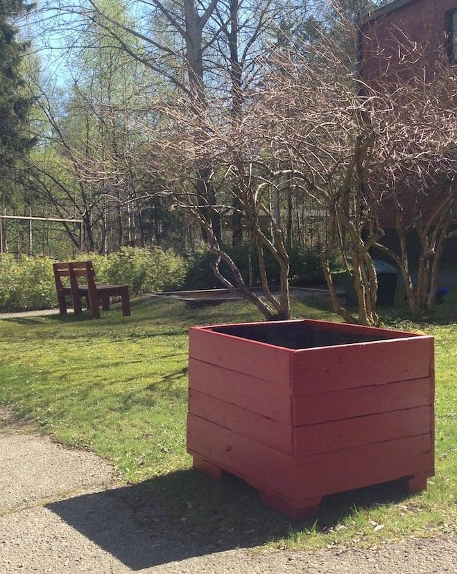 Red traditional painted planter box